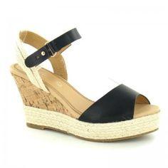 Womens Laura Black Sandal Buckle Ankle Strap Wedge Sandal
