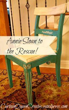 Annie Sloan Chair Rescue @ Curtain Queen Creates