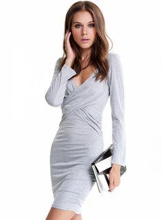 #SALE Grey Long Sleeve Cross-over Waist Bodycon Dress Shop the #SALE 43% OFF at #Sheinside