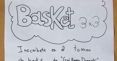Cartel torneo deportivo Basket 3x3 fotocopiable y coloreable