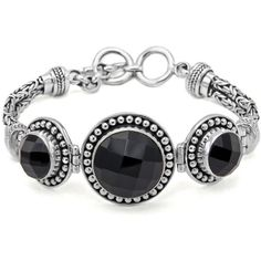 Balinesia Artisan Crafted Genuine Black Onyx Sterling Silver Bracelet (765 BRL) ❤ liked on Polyvore featuring jewelry, bracelets, black onyx bangle, black onyx jewelry, sterling silver jewelry, sterling silver jewellery and sterling silver bangles