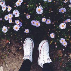 Imagem de flowers, converse, and shoes Converse Outfits, Sneaker Outfits, Converse Sneaker, Puma Sneaker, Converse Tumblr, Converse Photography, Tumblr Photography, Photography Flowers, Photography