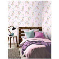 Arthouse Rainbow Unicorn Wallpaper ($25) ❤ liked on Polyvore featuring home, home decor, wallpaper, unicorn wallpaper, unicorn home decor, pink glitter wallpaper, fairy tale wallpaper and animal wallpaper
