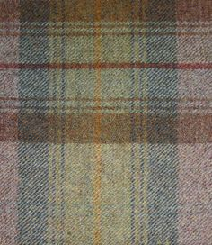 Calder Check Wool Fabric Wool tartan fabric in autumn colours of soft sage green and heather