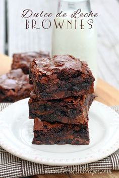 Dulce de Leche Brownies. The most amazing brownies I have ever made! Everyone who tries them raves about them. #recipe