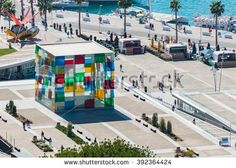 The new Malaga Pop-Up museum is housed in the large glass cube situated at the newly renovated port Glass Cube, Places In Europe, Spain Travel, Pop Up, Caribbean, Centre, Photo Editing, Royalty Free Stock Photos, Fair Grounds