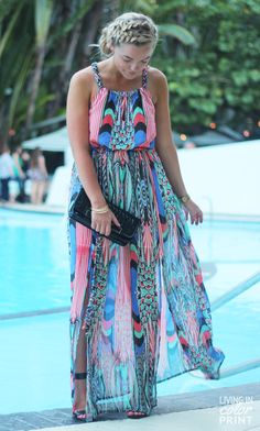 Kristin Clark of Living In Color Print pairs of the MARLENEE with a cool tribal print maxi and achieves the perfect pool party look.