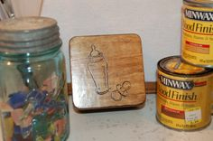 Small Trinket Box with Baby Bottle and Pacifier on Top - Finished with Provincial Stain and Varnished - Free Shipping
