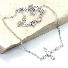 'In My Heart' Sterling Silver Cubic Zirconia Cross Necklace