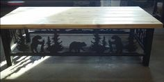 Bear themed sofa table custom designed by Rustic Iron Creations - http://rusticironcreations.com