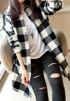 White Tartan Coat- Outwears and Jackets