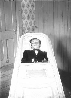 A young boy In his casket