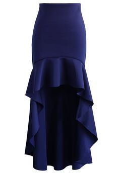 Airy Frill Hem Skirt in Navy - New Arrivals - Retro, Indie and Unique Fashion