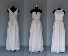 Long Silver/Grey Bridesmaid Dress Long Halter by StarCustomDress Silver Grey Bridesmaid Dresses, Wedding Bridesmaids, Prom Dresses, Formal Dresses, Wedding Dresses, Trending Outfits, Dress Long, Convertible, Wedding Things