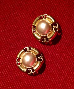 Vintage Chanel Earrings with Glass Mabe by hollywoodtreasures