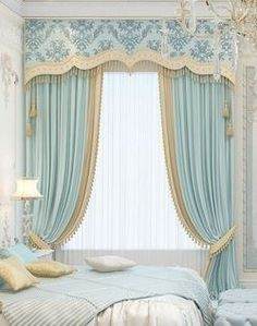 New Ideas Bedroom Curtains With Blinds Ideas Curtain Styles, Curtain Designs, Beautiful Curtains, Beautiful Bedrooms, Blue Bedroom, Bedroom Decor, Design Bedroom, Bedroom Curtains With Blinds, Rideaux Design