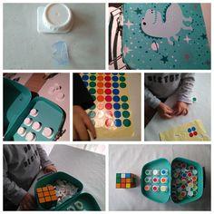Juego de viaje para hacer secuencias y patrones utilizando cubo rubik, Tapones de tetrabrik, pegatinas del chino o carrefour y un maletín de Tiger... Entretenimiento asegurado!!!
