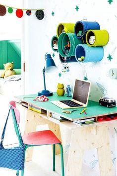 Eclectic Home Office with West Elm Industrial Task Table Lamps, Arre design insekt desk kids, Concrete floors, Mural