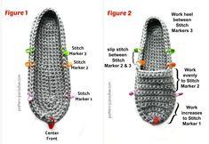 Knit Slippers Free Pattern, Crochet Slipper Pattern, Crochet Sandals, Crochet Boots, Crochet Designs, Crochet Patterns, Free Crochet, Knit Crochet, Crochet Circles