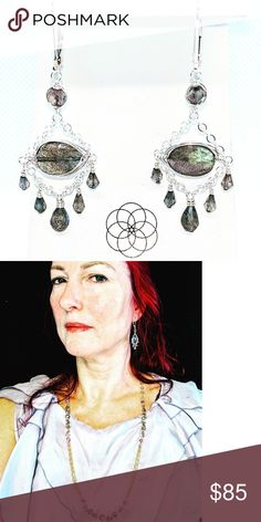 Labradorite and sterling silver earrings Or Rose, Rose Gold, Labradorite, Sterling Silver Earrings, Jewlery, Women Jewelry, Yellow, Handmade, Closet