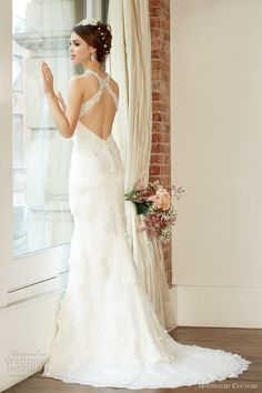 moonlight couture fall 2013 bridal wedding dress style h1222 back cross straps