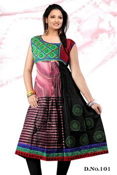 Elegant personality with new SIXMETER Black Pink #Casual Wear #Anarkali Style #Kurti for lovely lady.