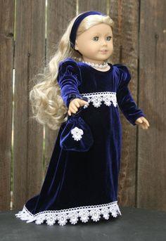 American Girl Regency gala gown in royal by RussianLilyDesigns