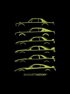 Rising Sun GeeTeeAru SilhouetteHistory Silhouettes of the six generations of Datsun/Nissan Skyline GT-R: (Hakosuka), (Kenmeri), and Made upon a custom request,. Car Silhouette, Silhouette Portrait, Toyota Supra, Gtr R35, Car Insurance Rates, Nissan Gtr Skyline, Gt Cars, Car Posters, Japanese Cars