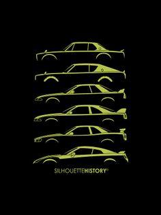 Green Nissan GT-R Silhouettehistory Digital Art
