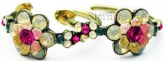Michal Negrin Vintage Style Crystals Hoop Earrings