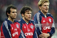 Lothar Matthaus, Mehmet Scholl and Steffan Effenberg of Bayern Munich form a wall during the UEFA Champions League game between Bayern Munich and Real Madrid at the Olympic Stadium in Munich, Germany. The game ended 4-1 to Bayern Munich. \ Mandatory Credit: Stu Forster /Allsport