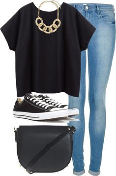 Black shirt, necklace, jeans, black Converse sneakers