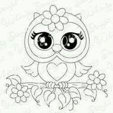 Whimsy Stamps - Rubber Stamps, Clear Stamps, and more Coruja Owl Coloring Pages, Coloring Books, Tole Painting, Fabric Painting, Owl Patterns, Embroidery Patterns, Whimsy Stamps, Owl Crafts, Owl Art