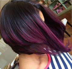 Purple ombre on short hair