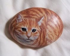 Painted Rock - Cat Photo: I'm painting rocks to look like animals, and will sell them at the Black Swamp Arts Festival in the fall. Pebble Painting, Pebble Art, Stone Painting, Rock Painting, Painted Rock Animals, Hand Painted Rocks, Painted Pebbles, Cute Dog Pictures, Pet Rocks