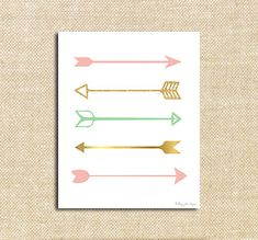 Pink, Gold and Seafoam Green Arrows Digital Printable Art wall decor. Lovely pastels for a rustic chic room. Girl Nursery, Nursery Decor, Nursery Art, Art Diy, Idee Diy, Big Girl Rooms, Do It Yourself Home, Diy Wall Decor, My New Room