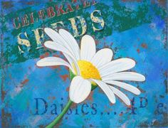 """Daisy Metal Sign by OMSC. $15.49. Rounded corners with holes for easy hanging. Ships in Ploy-bag for complete protection. Glossy, full-color, enamalized imaged baked onto thick, 24-gauge steel. This sign measures 9"""" by 12"""". Eco-friendly process, hand-made in the USA. This sign features art by Martin Wiscombe. Born and raised in Lyme Regis, Dorset, Martin studied illustration and design in the west country, then went on to spend more than 15 years working in London. After a succes..."""