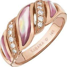 Kabana - Pink Mother of Pearl & Diamond Ring $2,500 diamonds international