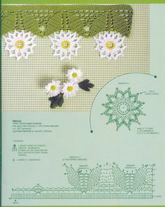 Crochet daisy trim with graphic