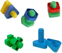 Nuts & Bolts - Use these oversized geometrically shaped nuts and bolts to promote bilateral coordination, motor planning, eye-hand coordination, fine motor skills and a fidgeting tool. Motor Planning, Shop Buildings, Cerebral Palsy, Occupational Therapy, Special Needs, Fine Motor Skills, Building Toys, Autism, Construction