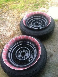 Use Playing Cards For Masking The Tires When Painting Wheels