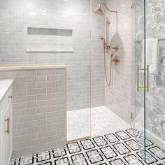 Bath oasis by Materials include: Jet Set Poolside Mosaic Calcata & Studio Moderne Stone. Benton House, Walker Zanger, Marble Pattern, Shower Floor, Bathroom Inspiration, Bathroom Ideas, Amazing Bathrooms, Kitchen And Bath, Jet Set