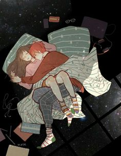 Credit to the artist(who is definitely not me). My first thought about this was Hermione and Ron