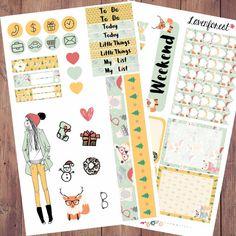 Abbie Christmas planner stickers, december planner stickers, fashion girl, erin condren, happy planner, girl mini kit, life planner, MK0016