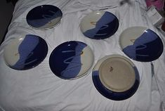 Hand Thrown Pottery plates set of 6 approx 10 inches in diameter thick heavy