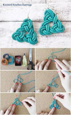 Make handmade earrings using a surprising range of low cost and no cost supplies using these free craft tutorials and projects. Crochet Earrings Pattern, Crochet Necklace, Crochet Patterns, Macrame Earrings, Macrame Jewelry, Leather Jewelry Making, Decorative Knots, Macrame Wall Hanging Diy, Needle Tatting