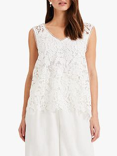 Phase Eight Aleah Lace Blouse, White at John Lewis & Partners White Lace Blouse, Embroidered Lace Fabric, Phase Eight, Wide Leg Trousers, Lace Sleeves, Warm Weather, John Lewis, How To Wear, Romantic