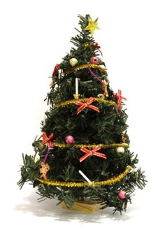 Puppenhaus Weihnachtsbaum Tannenbaum geschmueckt mit Girlande, Engel und Schleifen Miniaturen 1:12