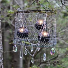 This rustic DIY is perfect for a country wedding. Upcycle a tomato cage into a gorgeous chandelier - with a bit of bling, of course.