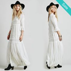 Bohemian Embroidered maxi dress -                             Bohemian Embroideried maxi dressDresses Length: Floor-LengthNeckline: V-NeckSilhouette: Fit and FlareSleeve Length: Three Quarter                          - On Sale for $68.00 (was $79.00)